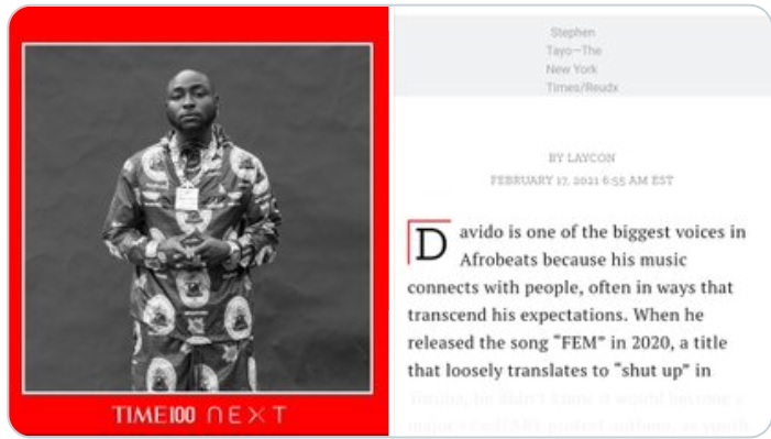 Image result for Davido named among world most influential people by TIME Magazine